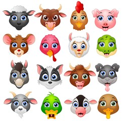 Animal head cartoon collection set