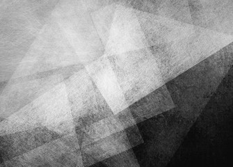 abstract black background with white transparent triangle layers in random pattern, with grainy scratch texture