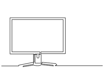 continuous line drawing of computer monitor