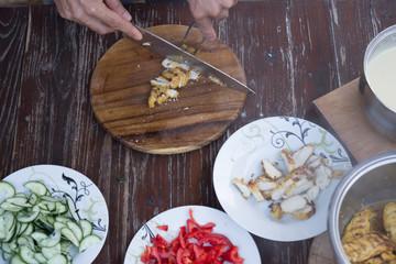 food preparing cutting on table