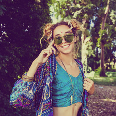 stylish hippie girl in the forest