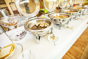 Buffet breakfast (focus on the egg dish).