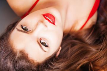 beautiful woman lying down portrait