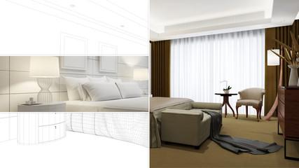 CAD Planung von Hotelzimmer mit Bett
