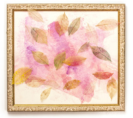 Pastel skeleton leaves on framed abstract pink paiting
