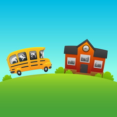 Back to School bus carries children study