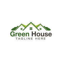 house home green nature logo design vector