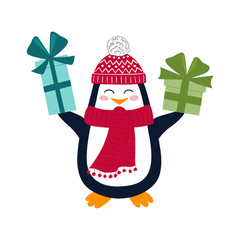 Funny penguin with Christmas gifts. Vector illustration for greeting cards, decorations and stationery. White background.
