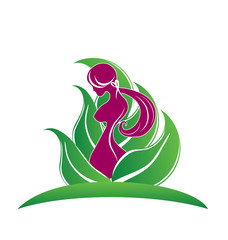 Beauty girl pink body breast symbol logo