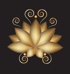 Logo golden swirly lotus flower