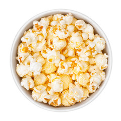 bowl of popcorn on white background, top view