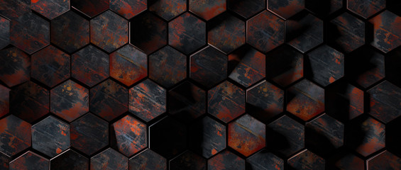 Dark Rusty Metal Hexagon Tiles Background