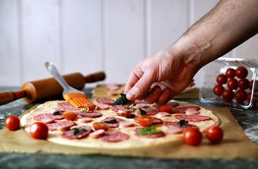 prepare pizza topping