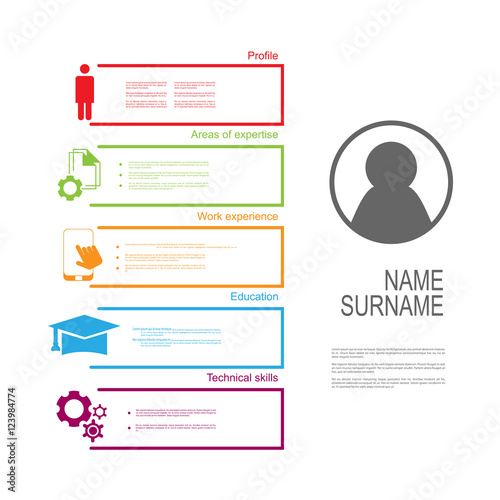 quot resume cv template design with text box quot stock image
