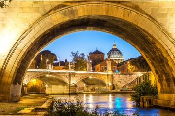 views to st peter basilica in rome, italy