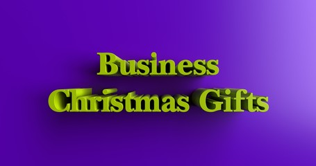 Business Christmas Gifts - 3D rendered colorful headline illustration.  Can be used for an online banner ad or a print postcard.