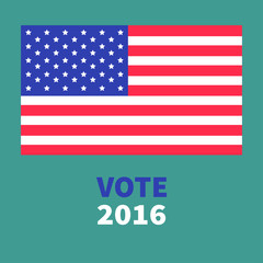 President election day 2016. Voting concept. Big american flag. Isolated Green background Flat design Card
