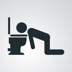 Icono plano hombre vomitando en fondo degradado