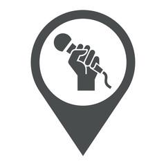 Icono plano localizacion mano con microfono gris
