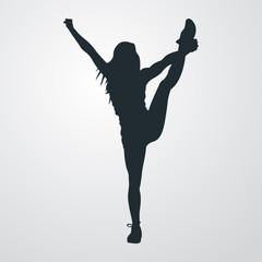 Icono plano silueta chica deportista flexible en fondo degradado