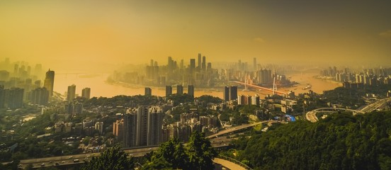 Chongqing, China downtown city skyline over the Yangtze River.