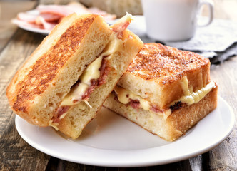 Toast sandwich with cheese and bacon