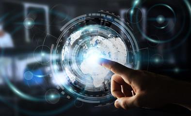 Businessman using hologram screen with digital data