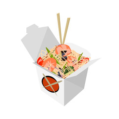 Paper Box Chinese noodles and chopsticks, WOK. Noodles with shrimp. Food delivery vector