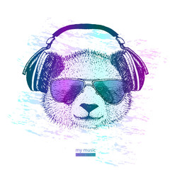 cool Panda with headphones and glasses