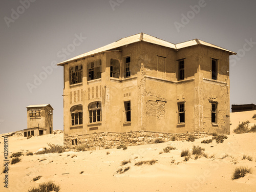 Ghost buildings of old diamond mining town Kolmanskop near