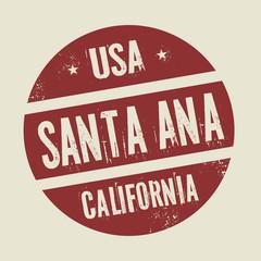 Grunge vintage round stamp with text Santa Ana, California