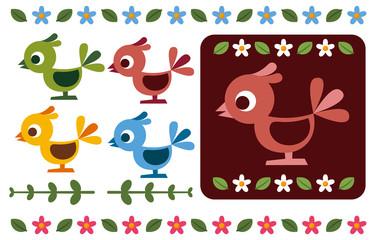 レトロな鳥と花の飾り
