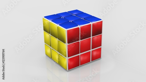 colored rubik 39 s cube on white background photo libre de. Black Bedroom Furniture Sets. Home Design Ideas