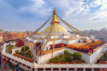 Keuken foto achterwand Temple Beautiful of boudhanath stupa in morning time at Kathmandu, Nepal