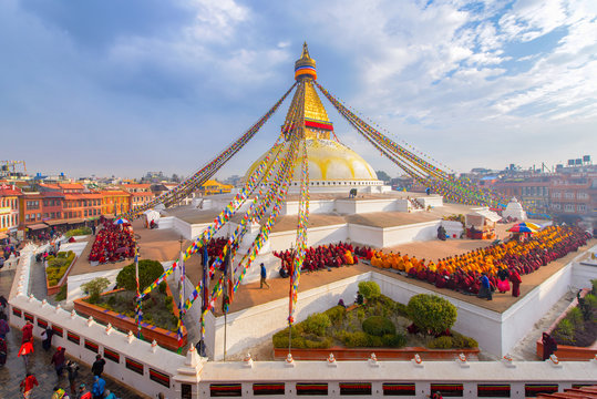 Beautiful of boudhanath stupa in morning time at Kathmandu, Nepal