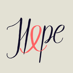 hope calligraphy. cancer handwriting with pink ribbon