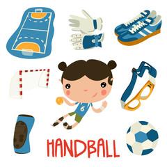 handball kid cute set. handball equipment.