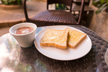 Toast coffee on the table