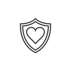 healthcare symbol. shield and heart line icon, outline vector logo illustration, linear pictogram isolated on white