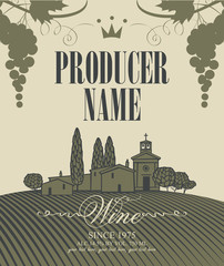 wine labels with a landscape of vineyards and a bunch of grapes