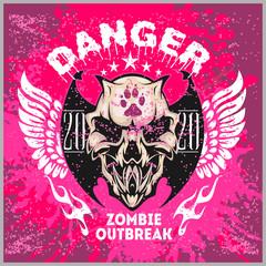 Zombi Apocalypse - emblem with skull on grunge background.