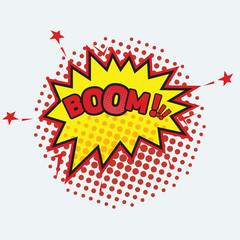 Boom - Comic sound effect. Halftone shadows. Vector illustration.