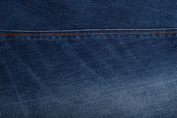 Background with texture of blue denim. Close up