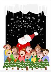 coro con Babbo Natale