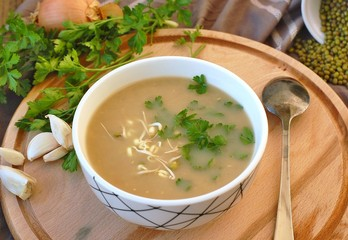 Healthy vegan soup from mung bean, coriander, garlic and onion in bowl on wooden background
