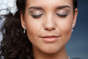 Closeup photo of beautiful young face