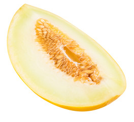 Yellow cut melon isolated on white background