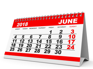 Calendar June 2018 on white background.