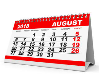 Calendar August 2018 on white background.
