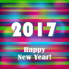 Happy New 2017 Year on striped pattern. Vector illustration